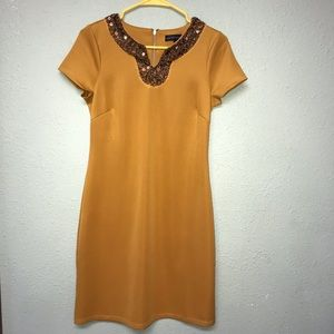 Mustard Yellow Bronze sequin Spenser Jeremy Dress
